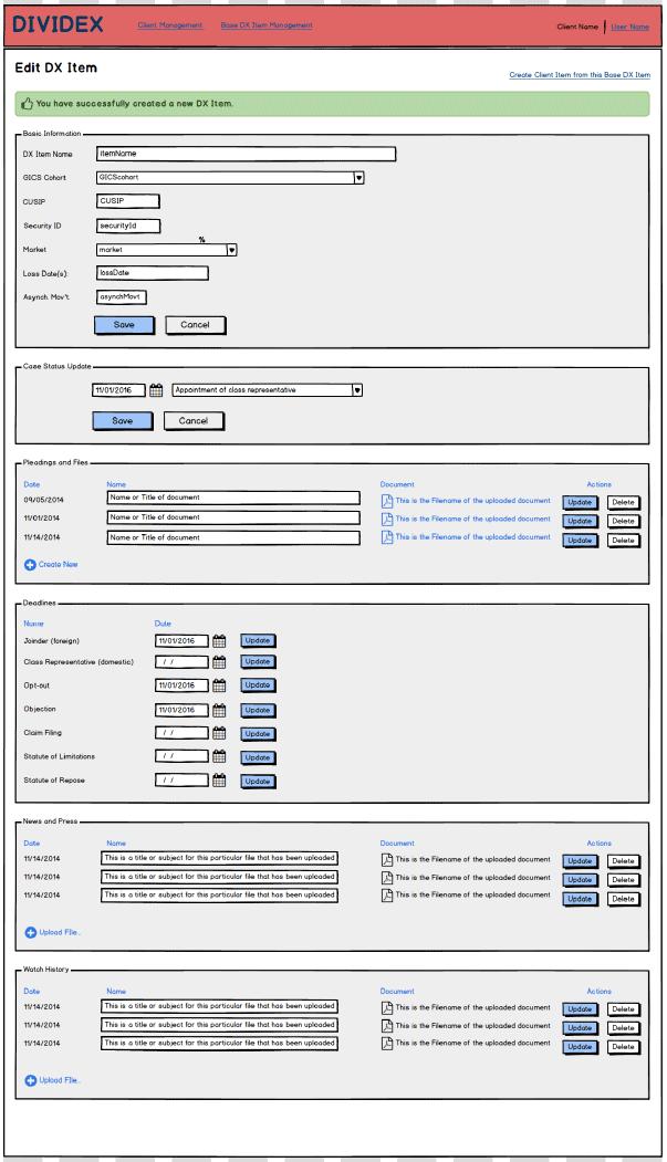 DIVIDEX - Admin Wireframes
