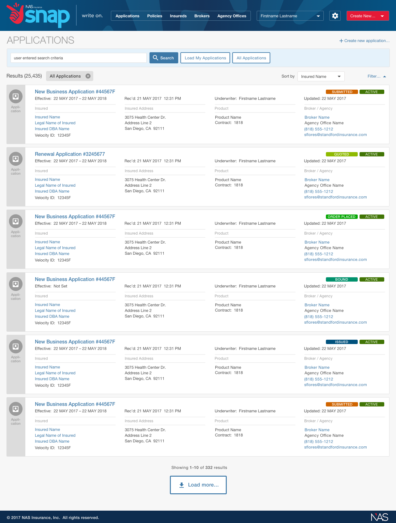 NAS Insurance - Applications Dashboard